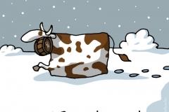 VACHE neige heula